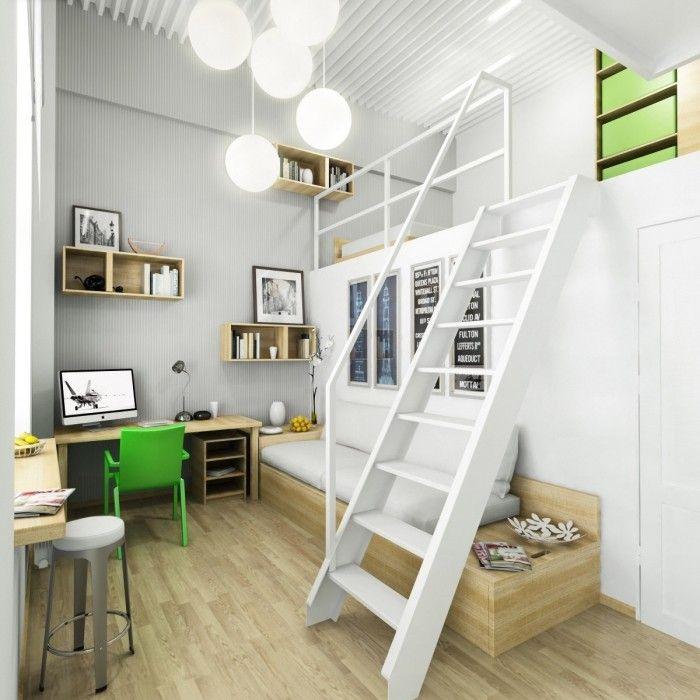 modernes Kinderzimmer in Weiß, Grün-Spielnische über eine Leiter ...