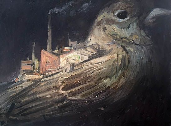 Shaun Tan - Small industrial estate on the back of a sparrow, oil 20 x 15cm