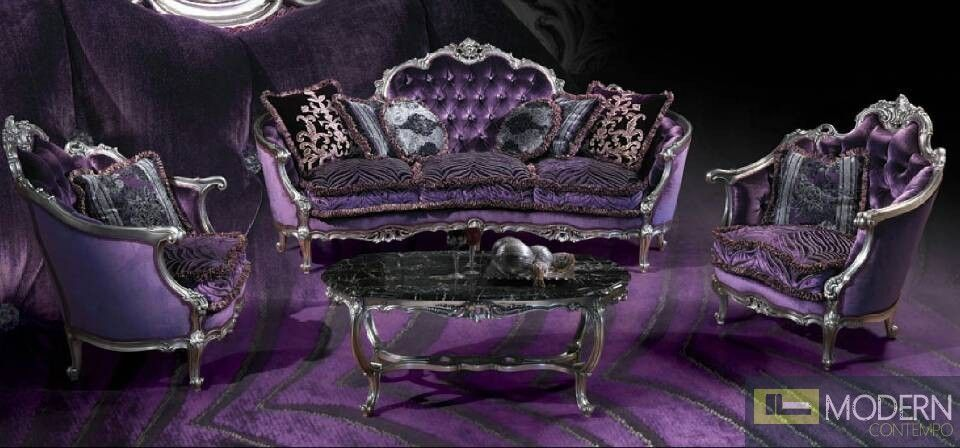 This Pretty Purple Sofa Set Has A Regal European Design PriceLiving Room