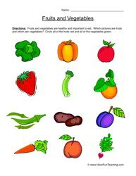 Fruits And Vegetables Worksheet Different Fruits And Vegetables Fruits And Vegetables Vegetables