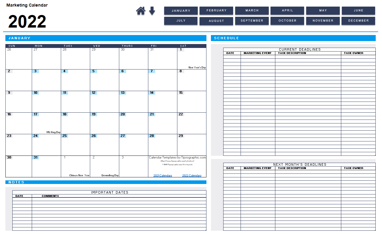 I just downloaded a simple free Marketing Calendar for Excel