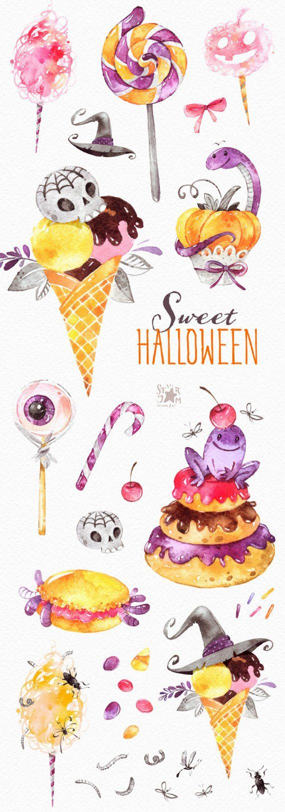 watercolor clipart candy ice cream lollipops cotton candy cake macaroon skul [ 570 x 1622 Pixel ]