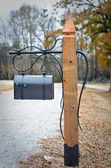 Iron Mailbox Post Foter Rustic Mailboxes Mailbox Makeover Diy Mailbox