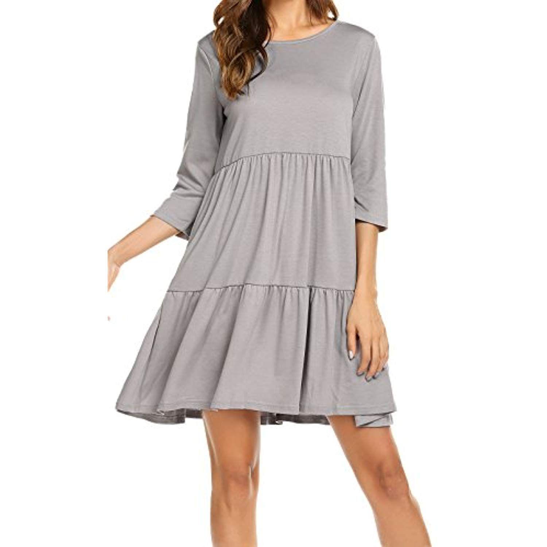 Women S 3 4 Sleeve Empire Waist Loose Swing Ruffle T Shirt Dress Pleated Mini Dress Find Out More About The Gr Loose Summer Dress Elastic Waist Dress Clothes [ 1500 x 1500 Pixel ]