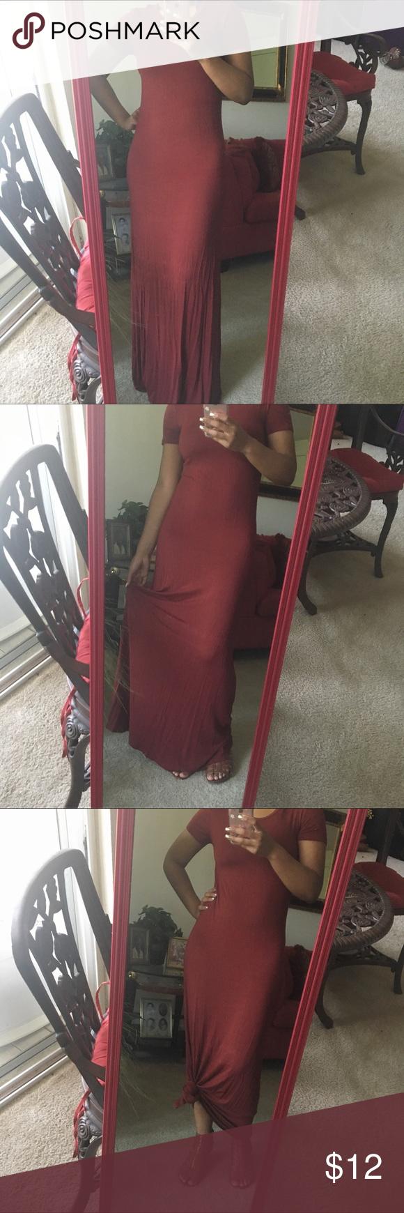 Maroon Dress Full length maroon dress. Shirt sleeves. Forever 21 Dresses