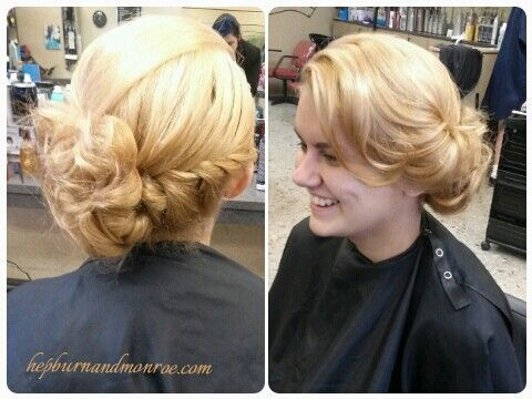 Summer highlighted blonde with caramel low lights in a fishtale low side bun upd #lowsidebuns