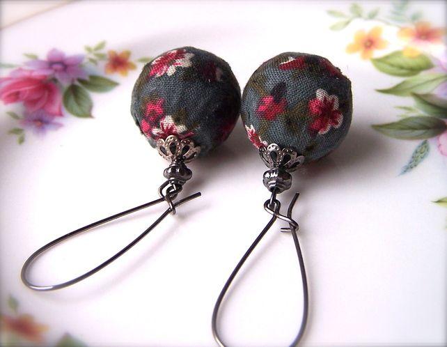 Dark Blue Earrings, Chunky Fabric Beads, Dangle, Retro Fun Earrings £9.00
