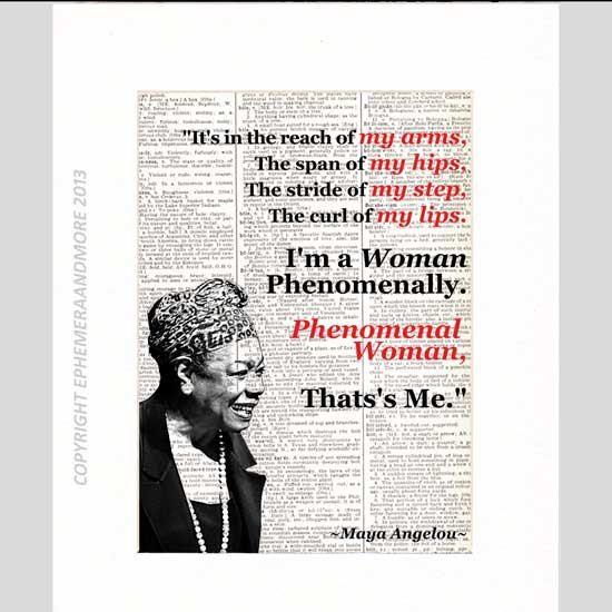 Maya Angelou Phenomenal Woman Art Print Motivational Inspirational Literary Quote Poem Typography Vintage Dictionary