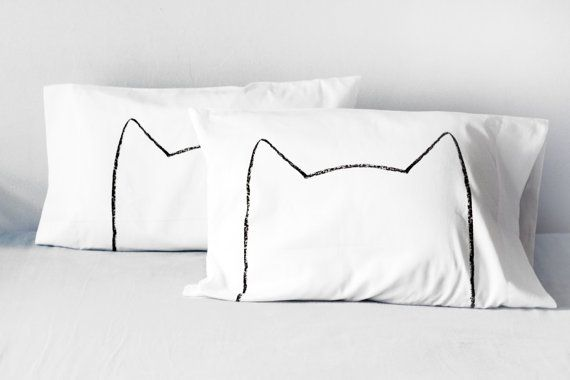His and Hers Cool Cat Pillowcase Set  cotton pillows  by Xenotees, $34.00