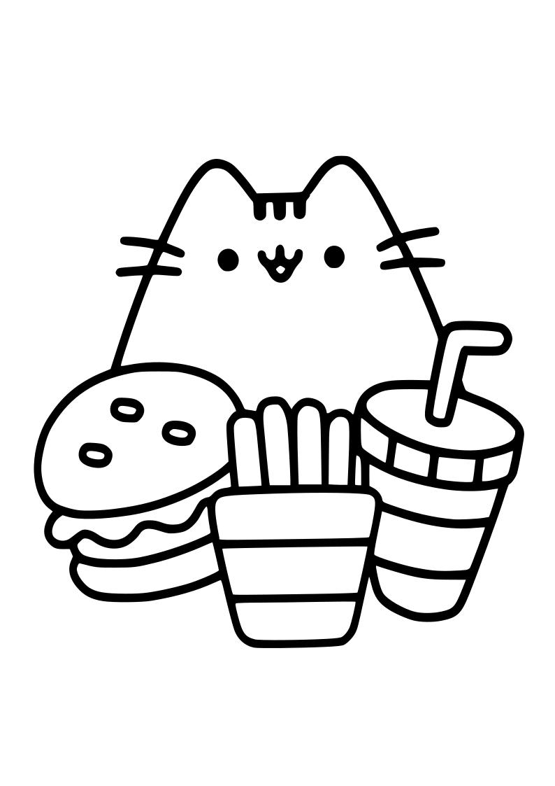 Dibujo Gato Con Hamburguesa Patatas Y Refresco Kawaii En 2020