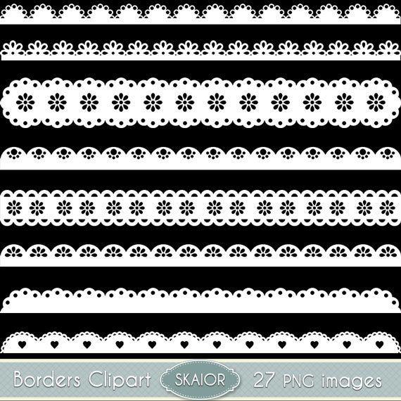 Scalloped lace. White borders clipart clip