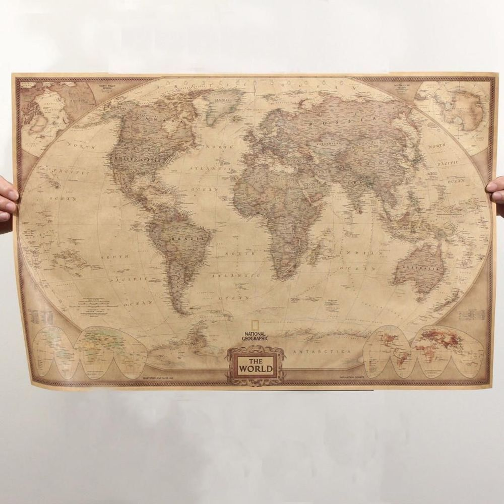Retro Map Of The World Vintage Style World Map Wall Poster Home ...