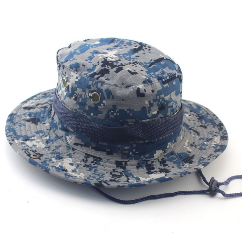 Blue Digital Camo Hiking Bucket Boonie Hat Sun Caps  c361545d72c