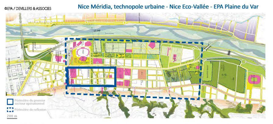 Périmètre: Nice Méridia, technopole urbaine - Nice Eco-Vallée - EPA Plaine du Var -06, Alpes-Maritimes ©201409 EPA/DEVILLIERS & ASSOCIES