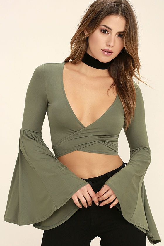 24df136fba2e7e The Tender Touch Olive Green Long Sleeve Crop Top is so trendy it s giving  us goosebumps! Soft jersey knit sweeps across a cropped