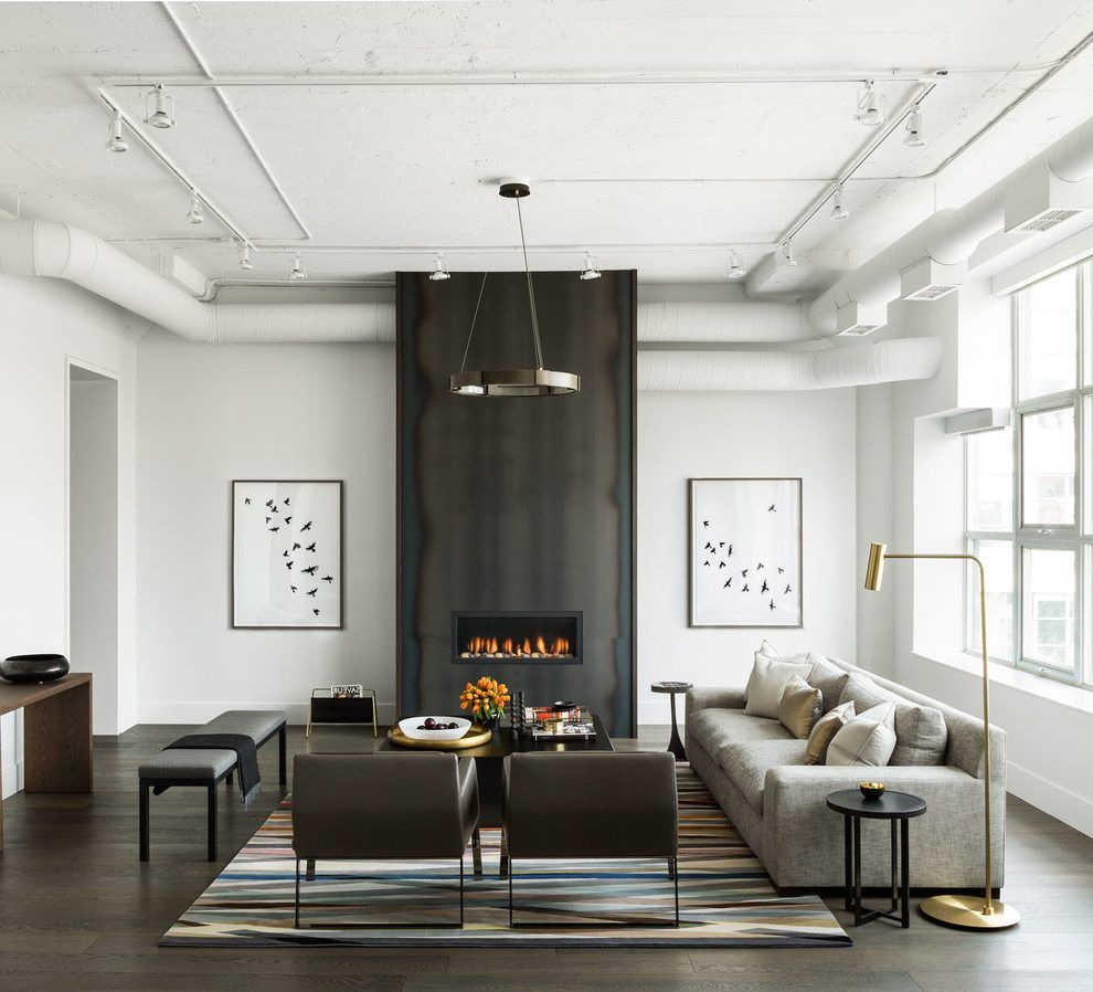 Contemporary Fireplace Surrounds Living Room Transitional With Modern Loft Sofa