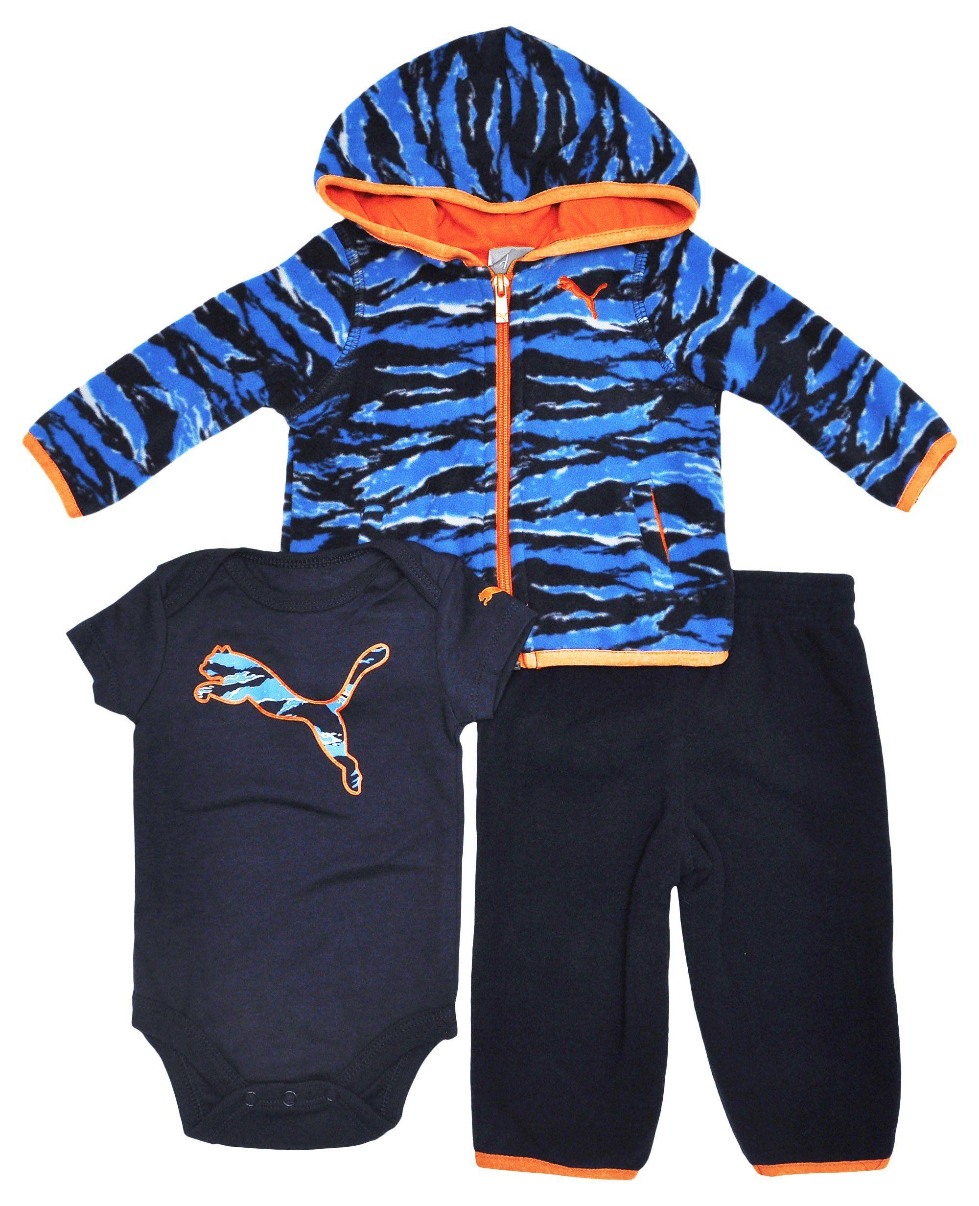 Puma Baby Boys Blue Camo Jacket Bodysuit & Pants Outfit 3 Piece Set