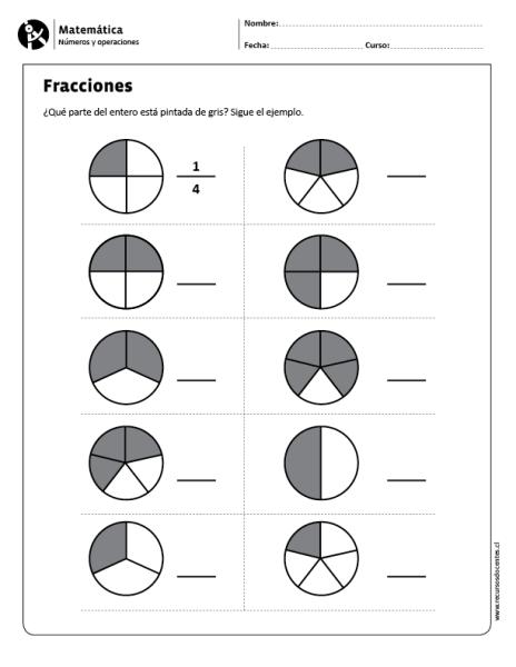 Fracciones | fracţii | Pinterest | Quinto grado, Fichas de ...
