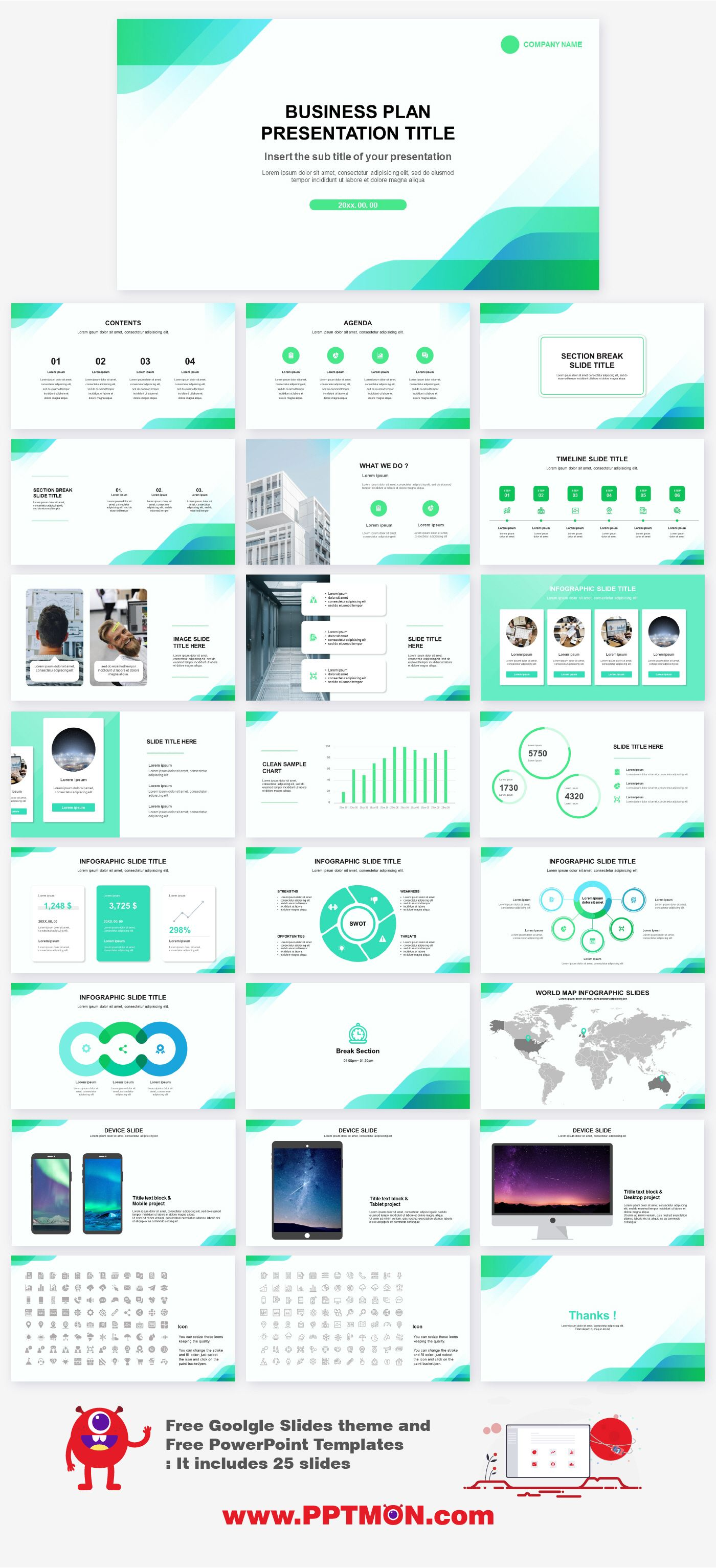 Business Plan Free Powerpoint Ppt Template Google Presentation Theme Business Plan Presentation Powerpoint Design Templates Powerpoint Presentation Design
