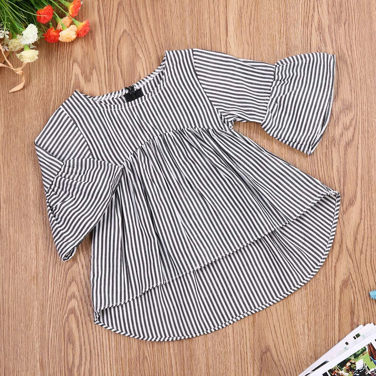 Casual Kids Baby Girls Clothes Collar Bowknot Long Sleeve Bottoming Tops Blouse