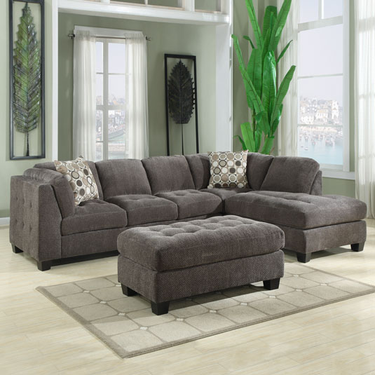Sectional Sofas At Jeromes: Trinton Pewter 2PC:RAF 1 Arm Sofa & LAF Chaise