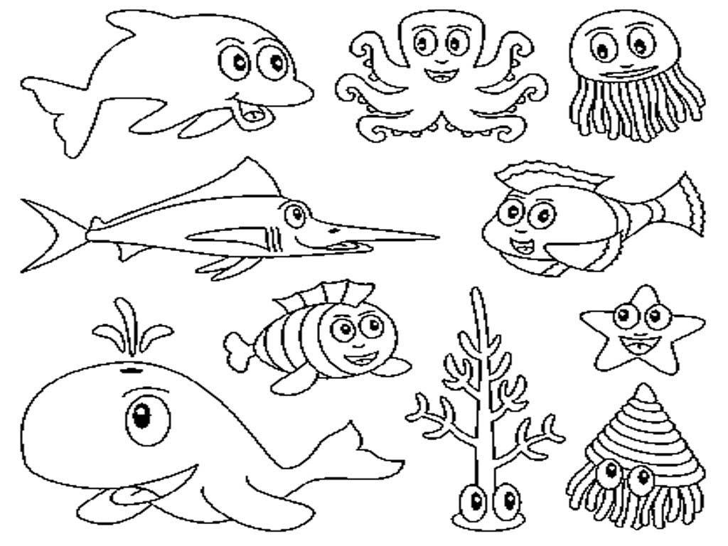 Animales marinos para colorear e imprimir, pintar. | voda | Ocean