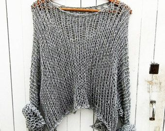 Loose knit sweater gray sweater / loose knit Cotton Sweater ...