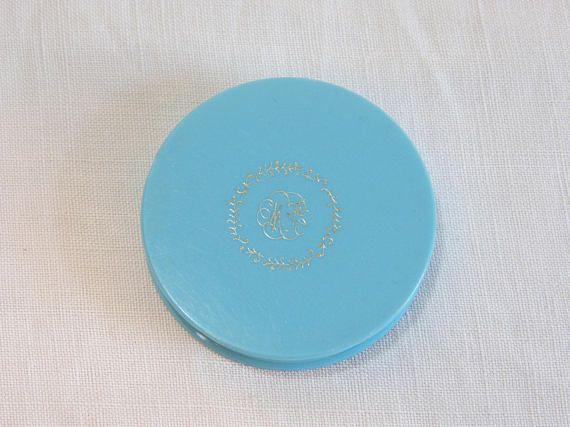 Little blue plastic MAX FACTOR Creme Puff unused face cream powder box - medium shade - French 50s vintage #cremepuff