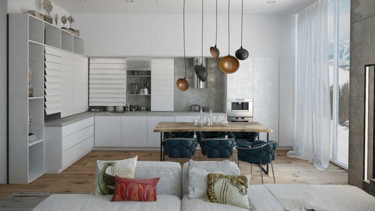 arredamento bianco e moderno, open space cucina soggiorno ...