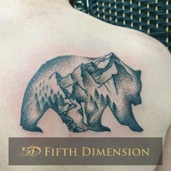 Tattoo By Yuki Dotwork Bear And Landscape Londontattoo Blackandgreytattoo Dotworktattoo Eastlondon Shor London Tattoo Black And Grey Tattoos Bear Tattoo