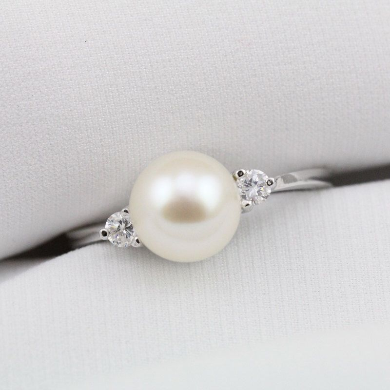 pearl ring engagement diamond rings style gold ribbon white real south cultured sea