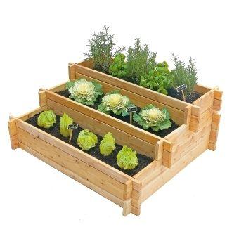 Escalier A Legumes En Meleze Brut Certifie Fsc L 100 X L 75 Cm Potager Palettes Potager Bois Jardin En Carre