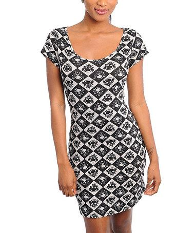 Take a look at this Black & White Skull Scoop Neck Dress - Women by Buy in America on #zulily today!