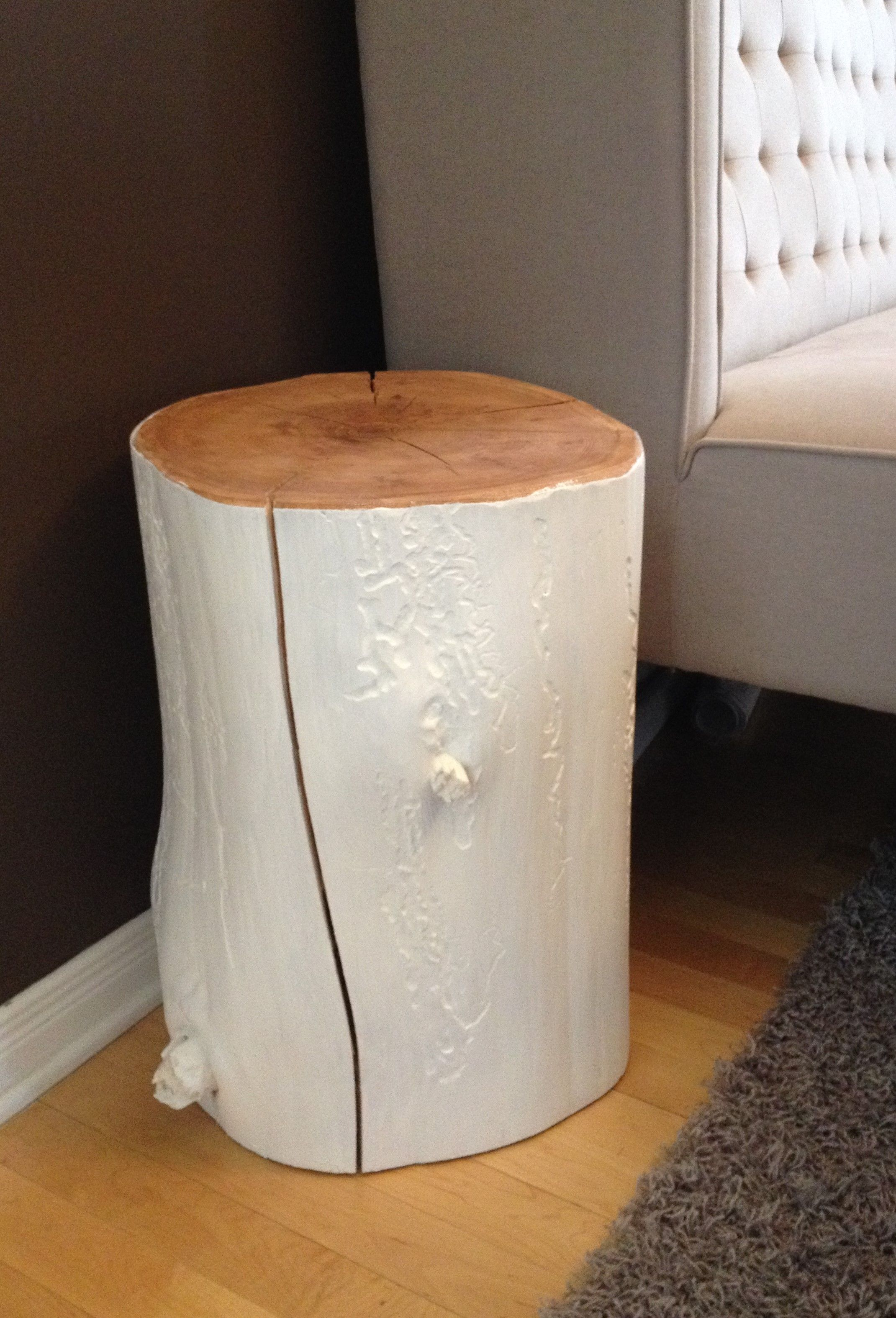 Stump Side Table Painted White Stump Side Table Log