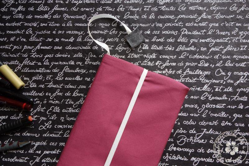 couvre-livre - version vieux rose/intérieur coton blanc
