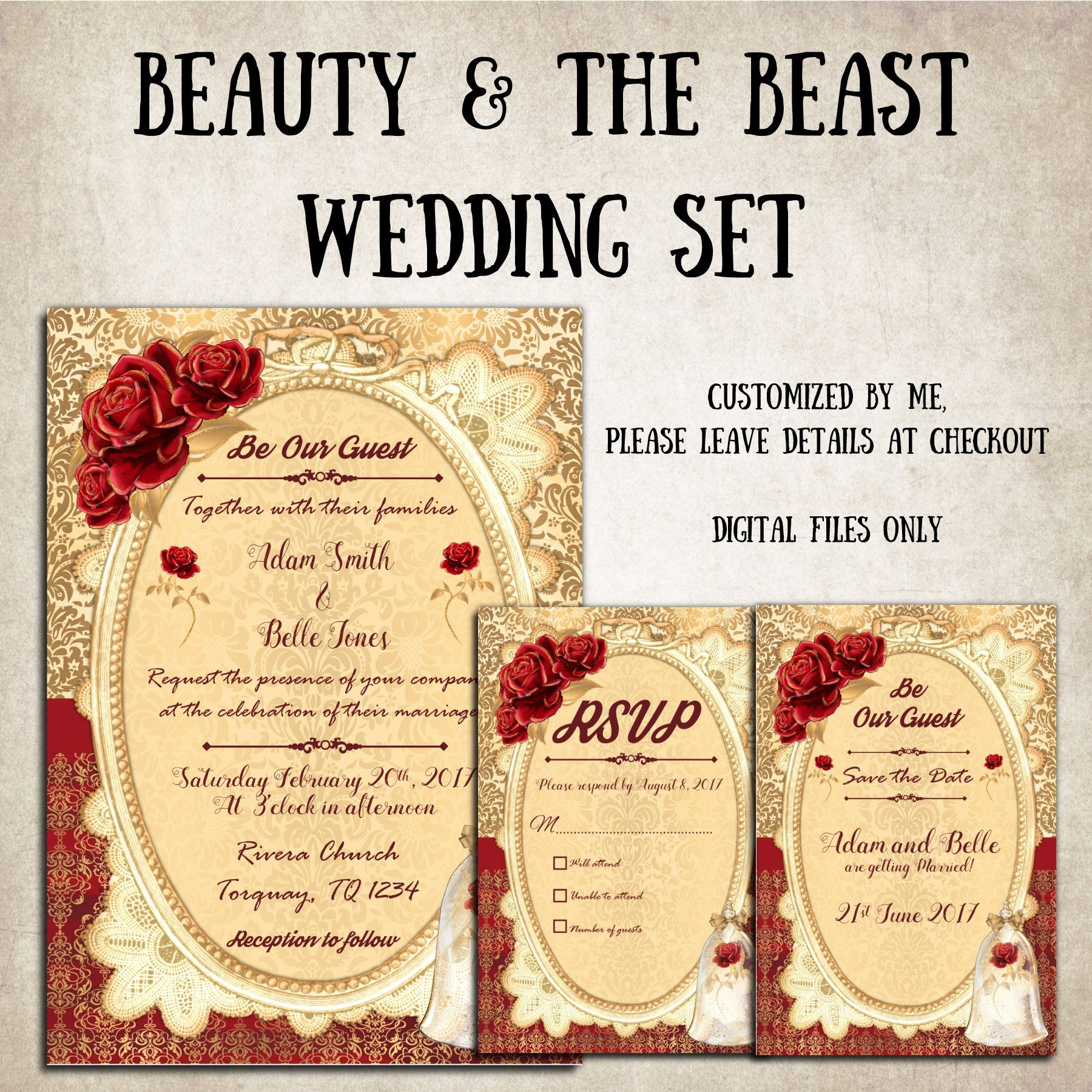 Beauty And The Beast Wedding Invitations With RSVP Save
