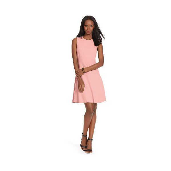 Ralph Lauren Lauren Cap-Sleeve Drop-Waist Dress ($135) ❤ liked on Polyvore featuring dresses, evening dresses, cocktail dresses, cap sleeve dress, pink evening dress and pink dress