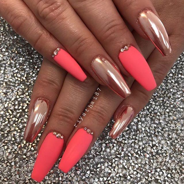 orange chrome stones nails