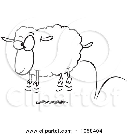 Royalty Free Vector Clip Art Illustration Of A Cartoon Black And White Outline Design Of A Bouncing Sheep By R Line Art Design Outline Designs Illustration Art