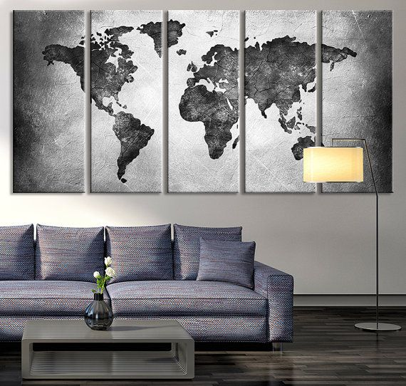 large canvas print black and white world map by extralargewallart - Home Design Art