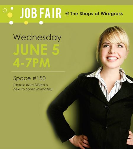 Looking for a J-O-B? Join us at The Shops at Wiregrass mall-wide Job Fair on Wednesday, June 5th from 4p-7p (across from Dillard's). #jobs #insider