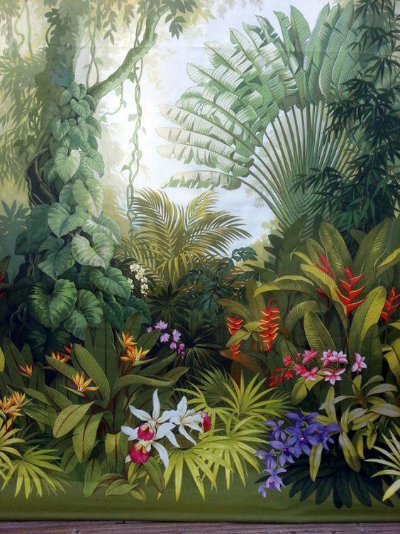 Panel curtain jungle flowers boho style tapeten - Dschungel tapete kinderzimmer ...