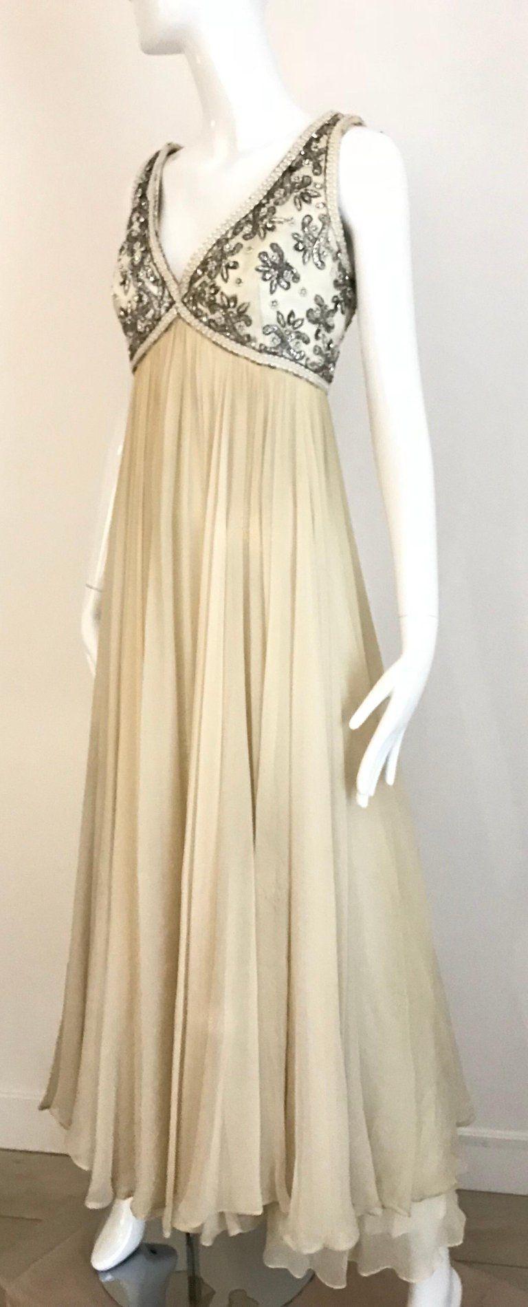 1960s Elizabeth Arden Creme Silk Sleeveless Gown Evening