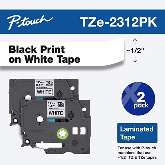 Amazon Com Brother Genuine P Touch Tze2312pk 1 2 0 47 Standard Laminated P Touch Tape Black On White Lamin In 2020 Printing Labels Clear Tape Label Maker Tape