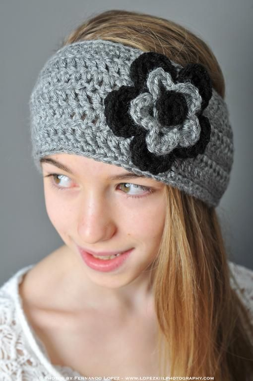 Ear Warmer with Layered Flowers | Ear warmers, Flower and Crochet