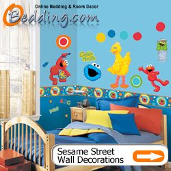 Sesame Street Elmo Bedding And Wall Decorations