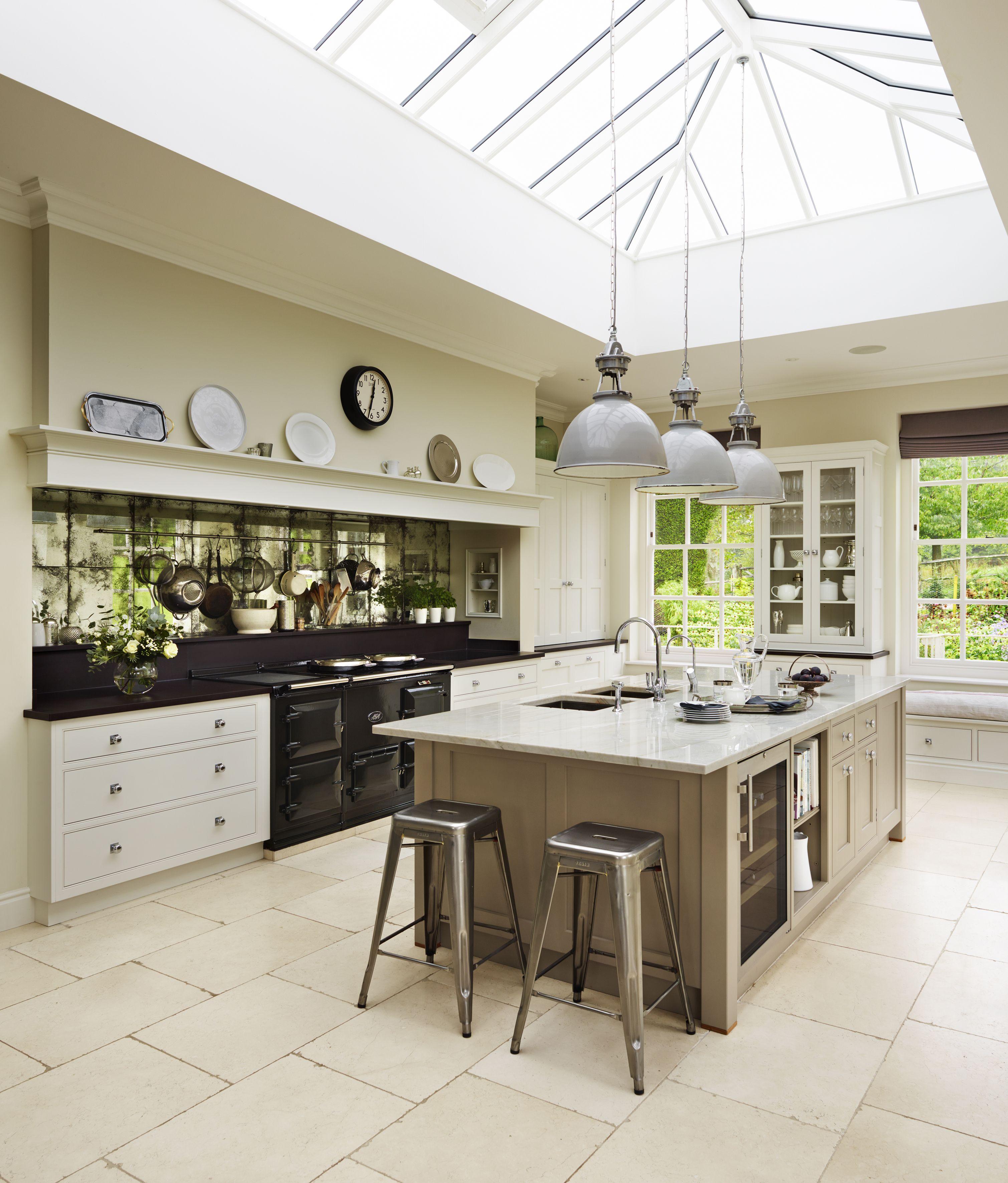 Bespoke Martin Moore kitchen with antiqued mirror glass splashback ...