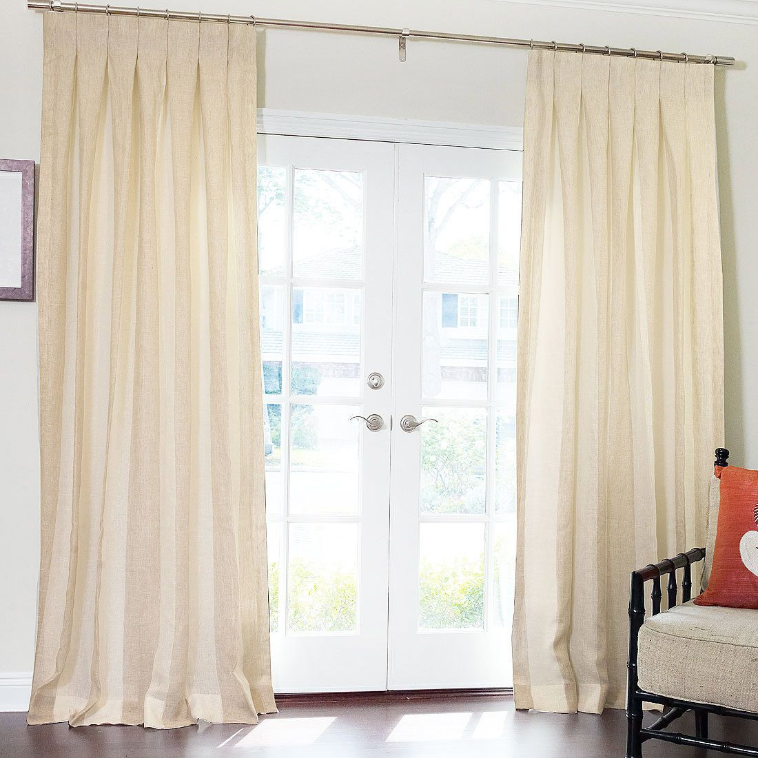 Pure Wide Stripe Sheer Linen Drapery with Inverted Pleat | Windows ... for Inverted Pleat Drapes  61obs