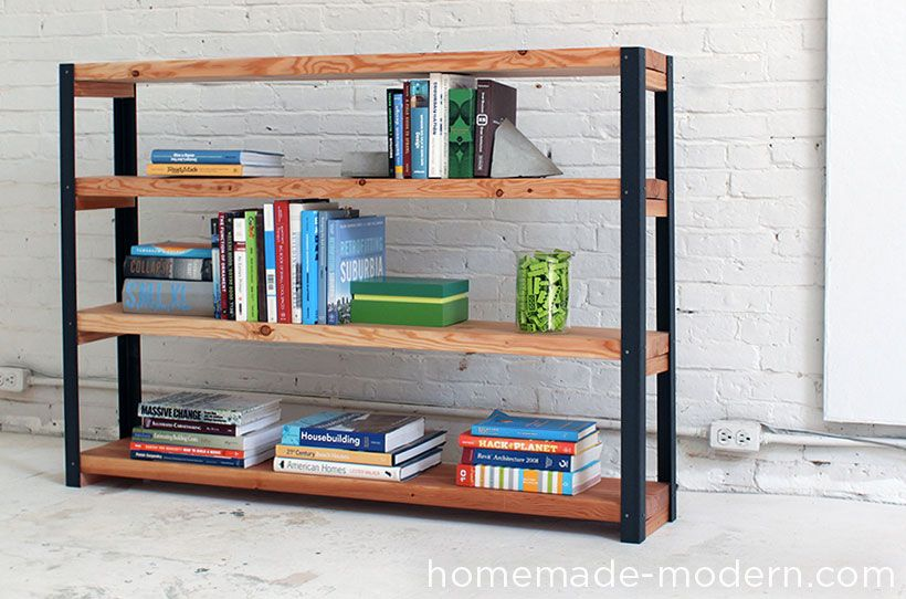 Diy an amazing ironbound bookcase full videotutorial for Diy modern bookshelf