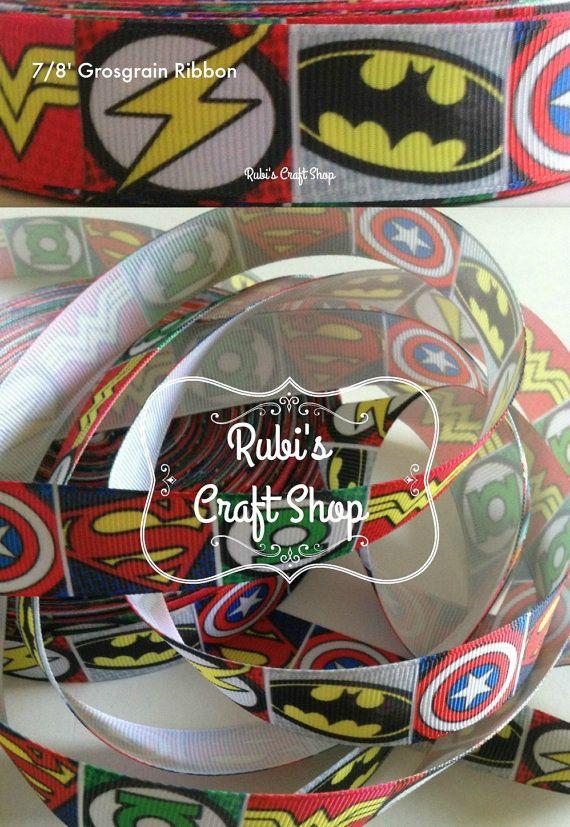 super hero grosgrain ribbon 7 8'